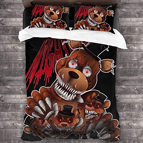 QWAS Juego de ropa de cama de 5 noches con Freddy, de fácil cuidado, diseño de Anime (A1, 220 x 240 cm + 80 x 80 cm x 2)