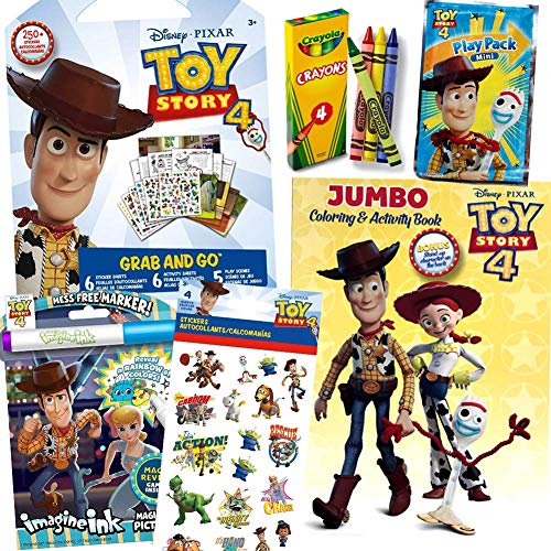 ColorBoxCrate Toy Story 4 Coloring Book Toy Set for Boys 6 Pack Includes Toy Story 4 Activity Books, Toy Story 4 Coloring Books, Toy Story 4 Stickers, Crayons, and More for Children Ages 3 to 8