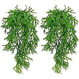 UBERMing 2 Stück Künstliche Hängepflanze Pflanzen Reben Farne Plastikpflanzen Geweihform Blätter Künstliche Ivy Vine Kunststoffpflanzen für Hochzeit Balkon Garten Party Wanddekoration