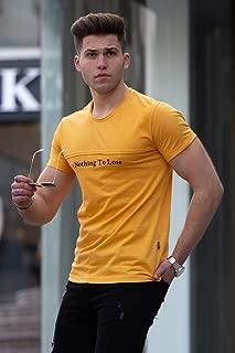 Madmext Baskılı Sarı Tişört 4456
