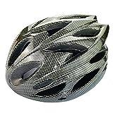UPANBIKE Casco de Bicicleta Casco de Ciclismo Ajustable de Una Pieza con Visera para Hombres y Mujeres(Negro Carbón)