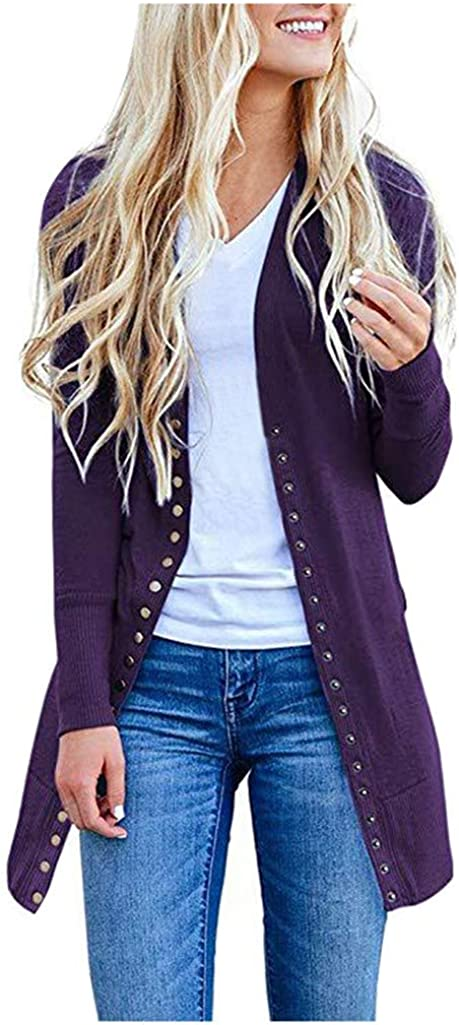 TOTOD Women Knits Cardigans Solid Color Button Knit Jacket Fashion Long-Sleeved Slim Fit Coat