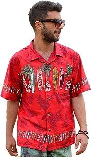 【Palmwave】 ハイビスカス柄 アロハシャツ 半袖シャツ ハワイアンシャツ 総柄シャツ 綿素材 大きいサイズ メンズおしゃれ 上品 PW041