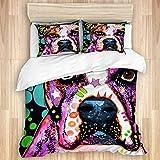 SUGARHE Bettwäsche Bettwäscheset,Bulldogge American Bulldog Hund Hunde Graffiti Haustier Hund Porträt,Mikrofaser Bettbezug 135 * 200cm, 2 Kissenbezüge 50 * 80cm