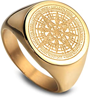 JAJAFOOK Mens Vintage Round Compass Signet Ring, Stainless Steel Nautical Compass Rings, Gold
