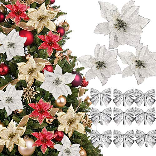 (48 Pcs)24 Fiori Artificiali Natale Fiori Artificiali per Alberi di Natale con Glitter Fiori di Stelle Natalizie Poinsettia Glitterate Argento 24 Fiocchi Archi di Decoracioni Ornamenti Addobbi Natale