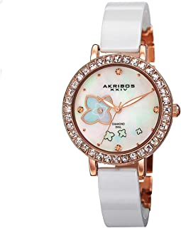 Akribos XXIV Womens Quartz Watch, Analog Display and Stainless Steel Strap AKR762RGW