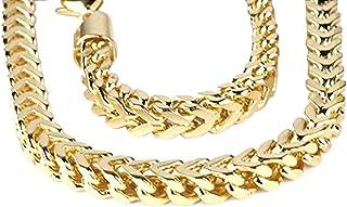 Collar de cadena de 14 K para hombre, 5 mm de ancho, cierre de mosquetón (71 cm de largo), oro amarillo