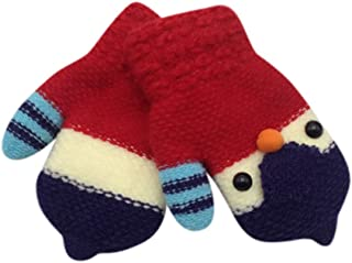 Kids Cute Chick Knitted Gloves Toddler Winter Warm Full-finger Mittens with Anti-lost String Infant Hanging On Neck Mitten Thicken Fleece Lined Thermal Gloves Boy Girl Wrist Magic Gloves 2-5Y Gift