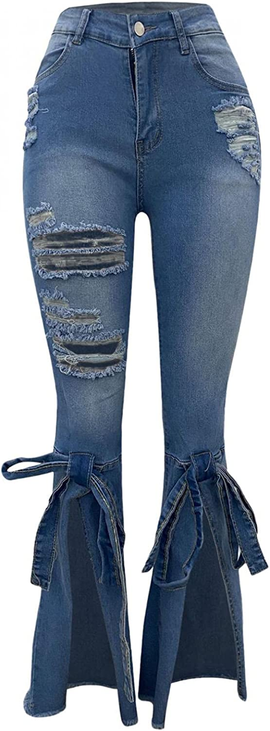 FUNEY Women's Skinny Ripped Jeans High Waisted Cut Out Stretch Destroyed Frayed Tassels Distressed Denim Pants with Hole