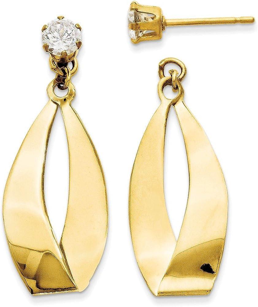 14k Polished Oval Dangle with Cubic Zirconia Stud Earring Jackets