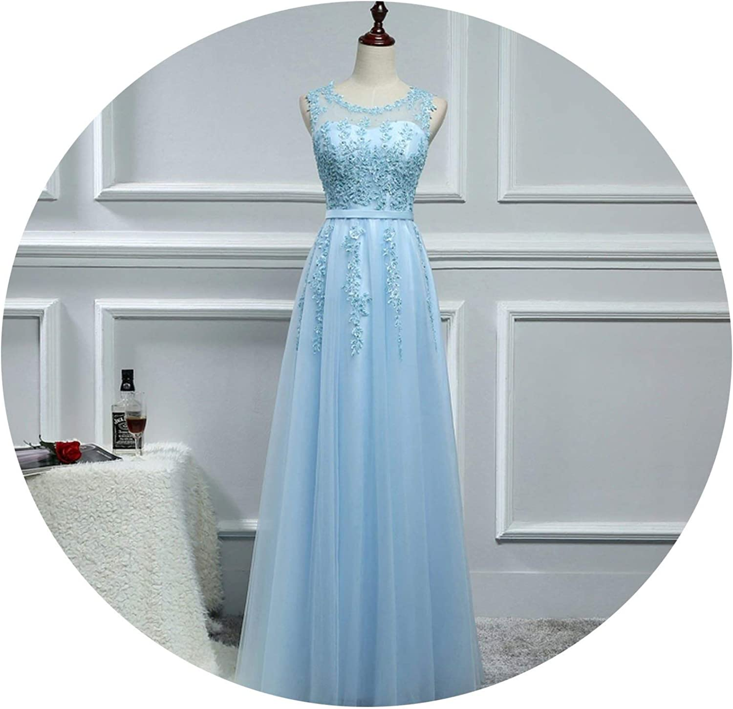 Meetyou Appliques Bridesmaid Dresses Floor Length Tulle A Line Wedding Party Dress