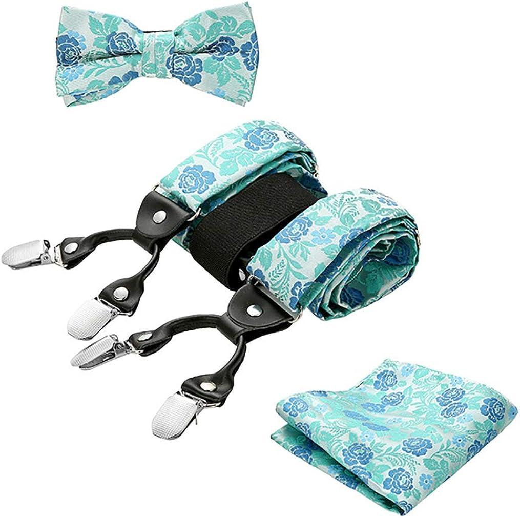 Men's Fashion Braces Bow Tie Set - Adjustable Suspenders with Pocket Square for Boyfriend, Husband, Dad