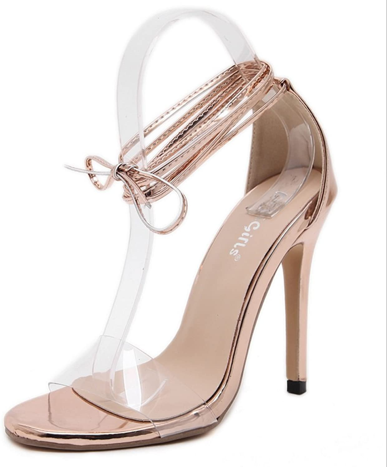 LZWSMGS Women's shoes PVC Spring and Summer Transparent shoes Thin Sandals Cross Straps Heel Block Toe Buckle Casual Dress Party Dinner Champagne 35-40cm Ladies Sandals