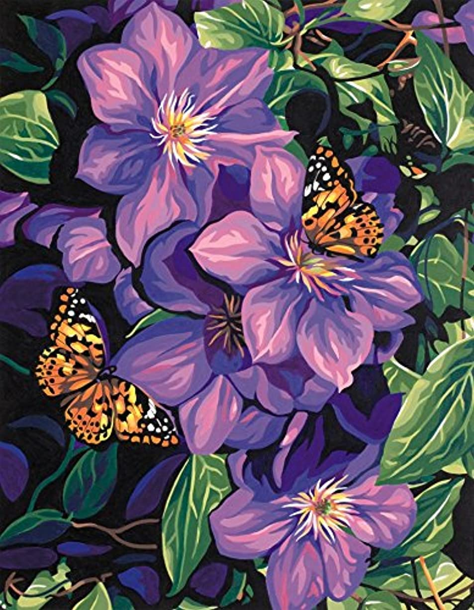 Dimensions Clematis and Butterflies Paint by Numbers for Adults, 11'' W x 14'' L