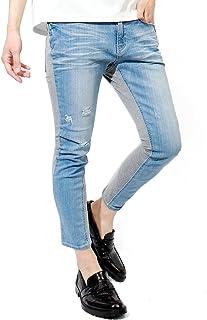 スキニーパンツ メンズ スウェット 切り替え ダメージ加工 ストレッチ スリム デニム 9分丈 インディゴ アンクルパンツ