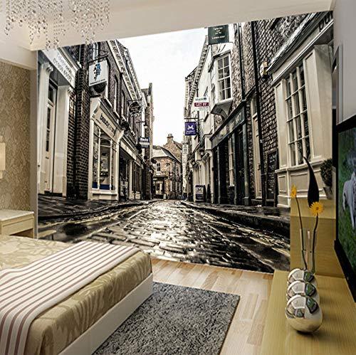 3D Murales Papel Pintado Pared Calcomanías Decoraciones Estilo Europeo Retro Edificio Ciudad Calles Café Arte Decoración Art º Chicas Dormitorios (W)250X(H)175Cm