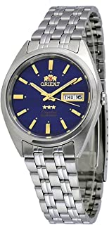 Orient #FAB0000DD Men's 3 Star Stainless Steel Blue Dial Day Date Automatic Watch