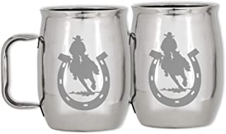 Stainless Steel Cowboy Stein Mug - Insulated Metal Coffee Tea Cup for Horse Lover Camping Outdoors RV – Gift Set of 2-20 Oz for Hot or Cold