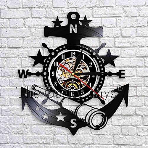 ZKMQF Yachting Meer Segelboot Anker Teleskop Wanduhr nautischen Lenkrad Vintage Vinyl Uhr handgemachte Wandkunst Dekor