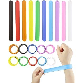 WTSHOP 20Pcs Rainbow Silicone Slap Bracelets Soft and Safe for Party Favors(10 Color)