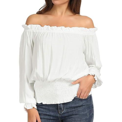 08533510e0dfa5 Kate Kasin Womens Short Sleeve Ruffle Off Shoulder Boho Blouse Top