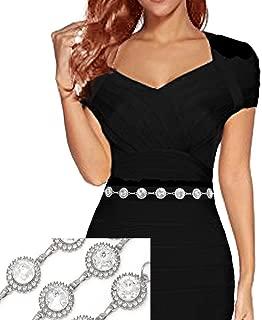 Women's Dressy Rhinestone Pave Trim Diamond Shape, Round Stone Link Chain Belt
