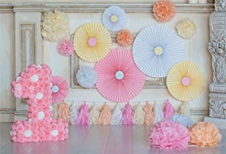 LFEEY 5x3ft Baby First Birthday Party Background for Photography Pink Paper Flowers Pom-poms Room Decor Little Princess Girl's 1st Birthday Cake Smash Photo Booth Backdrop Photo Studio Props
