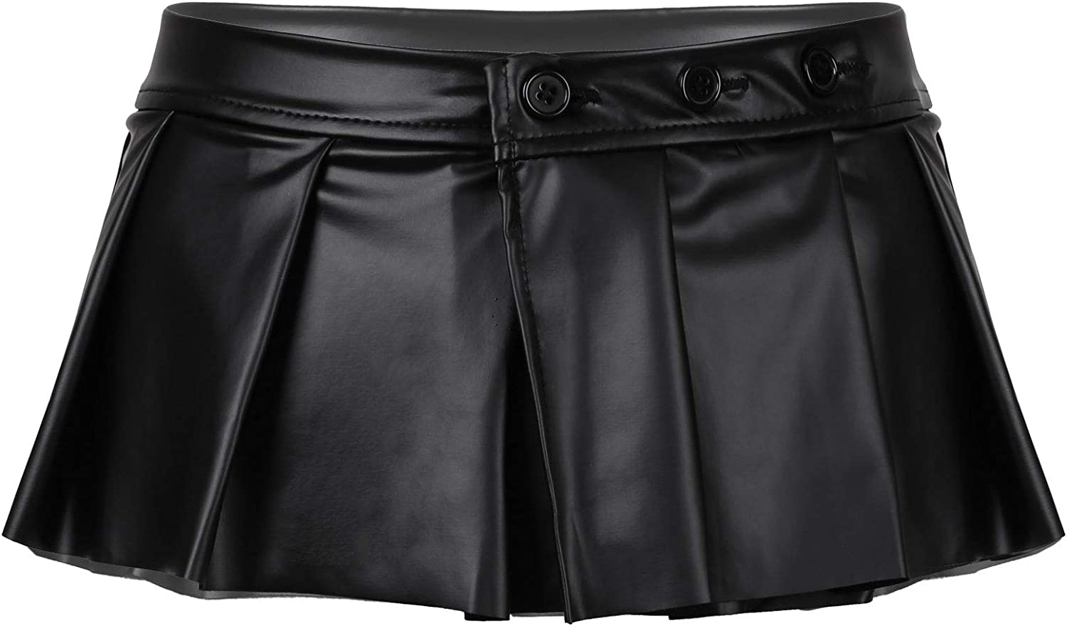 Oyolan Womens Casual PU Leather Flared A-Line Skirt Schoolgirl Outfits Pleated Mini Skirts Clubwear