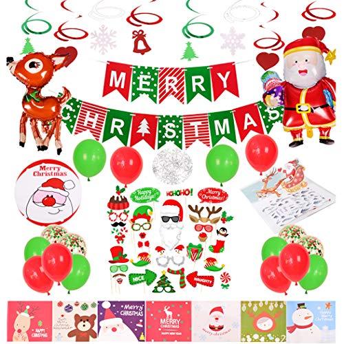 Vrolijk Kerstmis Ballonnen Decoraties Kit,Spiraal Opknoping Ornamenten 3D-kaarten,Tafelkleed, Kerst Ballonnen Mylar (Santa Claus/elk/Sneeuwvlok/Bell) Vrolijk Kerstmis Banner Garland voor Winter Wonderland