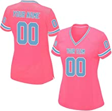 Custom Pink Mesh Replica Football Jersey Men Women Girls Embroidered Team Name and Your Numbers