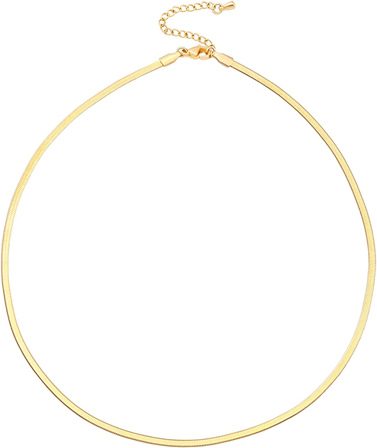 CANEVINKA 18K Gold Plated Chain Choker Necklaces for Women Dainty Brushed Coin Crescent Moon Pearl Pendant Necklace Minimalist Snake Chain Choker Necklace Paperclip Chain Jewelry