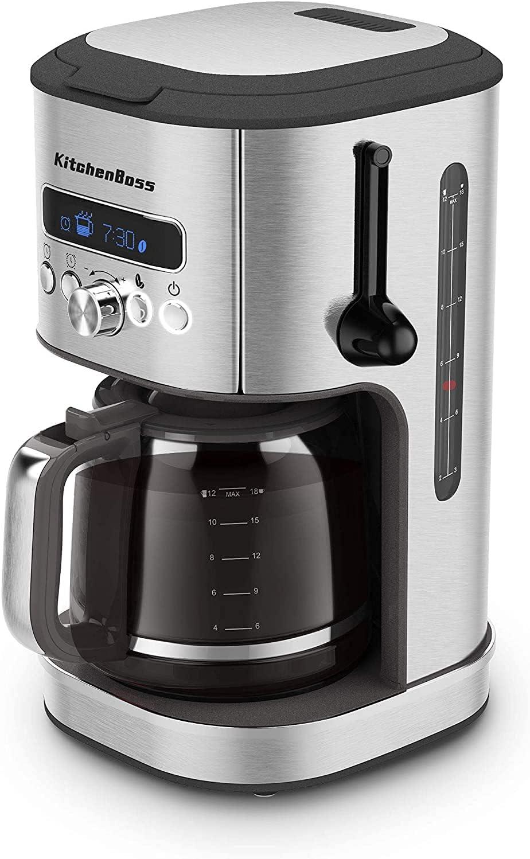 KitchenBoss Cafetera de Goteo-Cafetera-Electrica de Filtro Programable - Máquina de Café | con Temporizador Digital y Pantalla LCD | Jarra de Vidrio 1.8L | Sistema Antigoteo y Placa Calefactora | G508