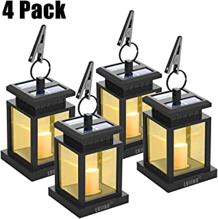 Solar Lantern Hanging Solar Lights Outdoor,Solar Outdoor Lantern Solar Powered with Auto Sensor On Off for Patio Landscape Yard, Warm White Candle Flicker(4 Pack)