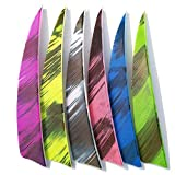 OBTOUTDOOR Archery Feathers 4 inch Shield Cut (60 Pack) Arrows Fletching Fletches Right Wing for DIY Carbon Arrows Wood Arrows Hunting Shooting Shafts (Yellow)