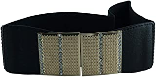 CHOCOLATE PICKLE Ladies Square Diamond Stud Buckle Wide Stretch Elasticated Belts One Size