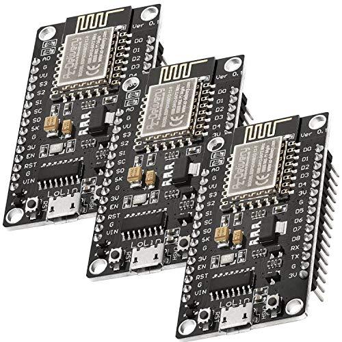 AZDelivery 3 x NodeMCU Lua Lolin V3 Module ESP8266 ESP-12F WIFI Wifi Development Board mit CH340 inklusive E-Book!