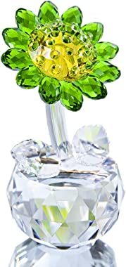 HDCRYSTALGIFTS 4in H Crystal Sunflower Figurine Crystal Figurines Collectibles Crystal Glass Flower for Home Decor - Green