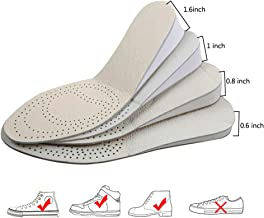 INTLMATE Height Increase Insole, Leather in Two Sides Shoes Heel Inserts Lift to 1.6 Inch 4cm up,Comfort Performance Shoes Insoles for Men and Women USA Size 5 to 9