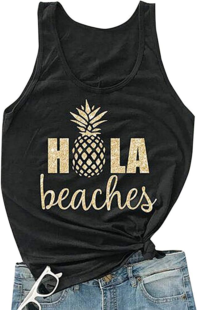 Hubery Women Casual Hola Beaches Print Letter Max 43% OFF Pineap Tanks Direct stock discount Shirt