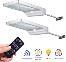 MIERES Waterproof 48 LEDs Adjustable Color Temperature Solar 3 Models with Mounting Pole Motion Sensor Outdoor Lights for Barn Porch Garage, Pack of 2, White