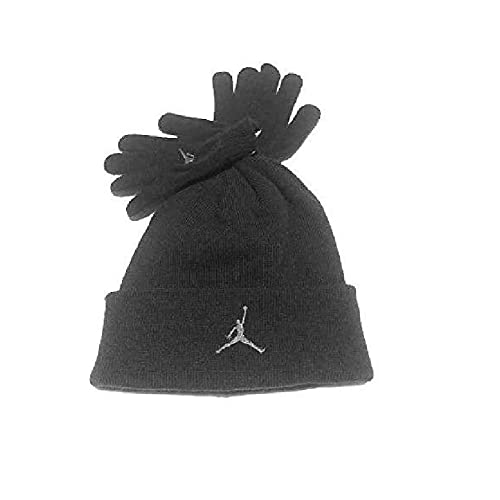 Nike Air Jordan Boys Winter Hat Beanie Cap Gloves Set Black Grey 8 20 a517b7877d