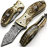 Cuchillo plegable, navaja de bolsillo, cuchillo hecho a mano a medida, cuchillo de acero de hoja de Damasco, con funda de cuero, cuchillo de cocina artesanal, cuchillo de cocina forjado a mano 8902