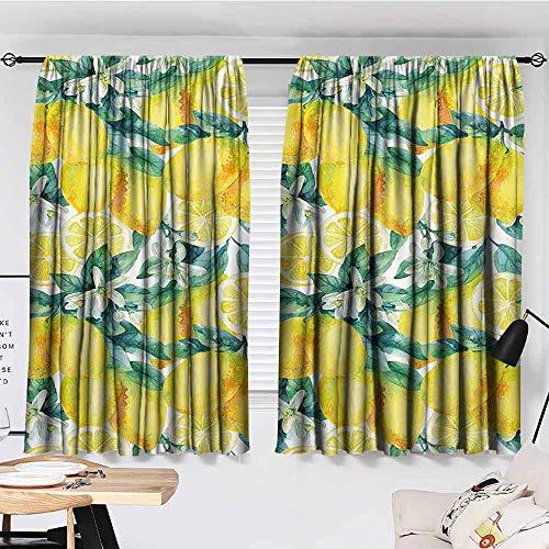 Curtain, Modern, Mature Lemon Citrus Tree Branches Vibrant Flourishing Season Watercolor, Courtyard Porch Gazebo Decoration, 63'x72', Forest Green Yellow