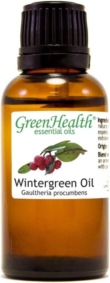 Wintergreen Essential Oil - 1 fl oz (100% Pure & Uncut) - GreenHealth - Amber Glass Bottle w/Child Resistant Cap