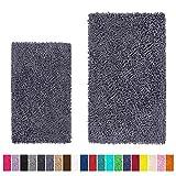 LuxUrux Bathroom Rug Set–Extra-Soft Plush Bath mat Shower Bathroom Rugs,1'' Chenille Microfiber Material, Super Absorbent (Rectangular Set, Dark Grey)