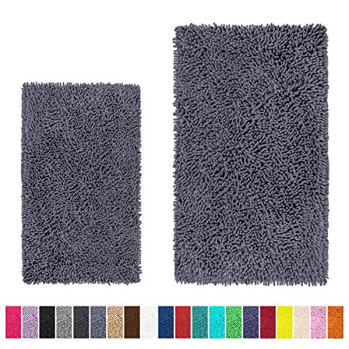 LuxUrux Bathroom Rug Set–Extra-Soft Plush Bath mats Shower Bathroom Rugs,1'' Chenille Microfiber Material, Super Absorbent. (Rectangular Set, Dark Gray)