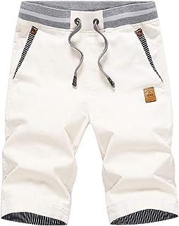 JustSun Mens Summers Cotton Casual Shorts Elastic Waist Pockets