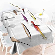HRoomDecor Vintage tablecloths,Fishing Decor,Netting Materials with Swivel Sinkers Fly Rods Floats Gaffs Recreational Pastime,Multi 60