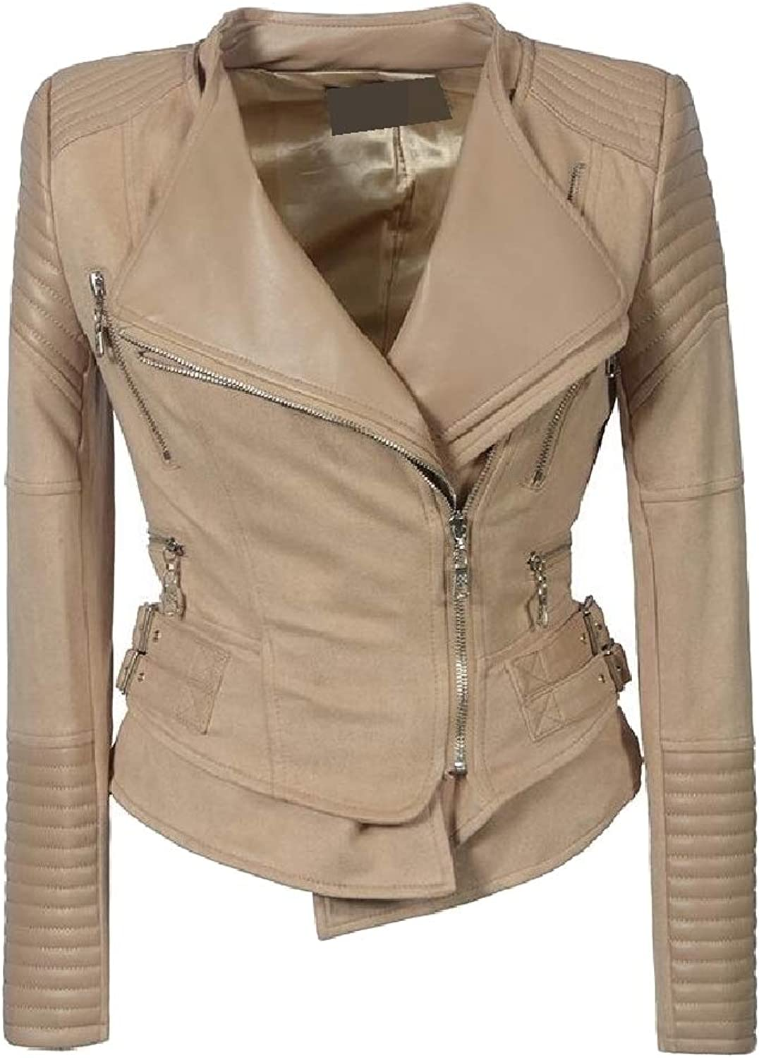 MacondooCA Womens Faux Leather Fit Coat Lapel Collar Moto Biker Zip Jackets